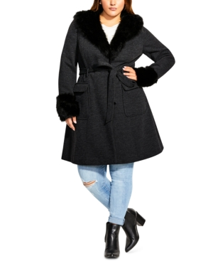 City Chic Coats TRENDY PLUS SIZE MAKE ME BLUSH FAUX-FUR-TRIM COAT