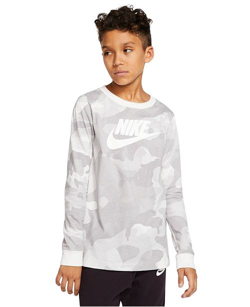Nike Big Boys Cotton Camo-Print Long-Sleeve T-Shirt