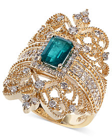 Brasilica by EFFY® Emerald (9/10 ct. t.w.) and Diamond (3/4 ct. t.w.) Ring in 14k Gold, Created for Macy's