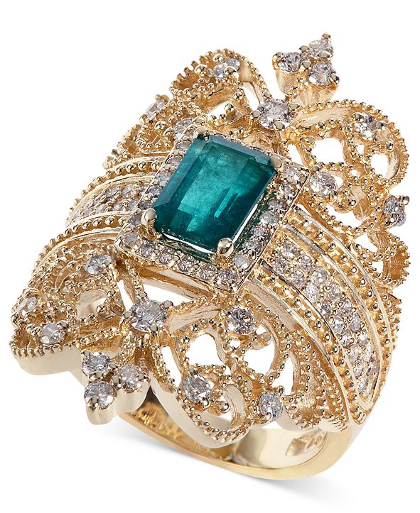 EFFY Collection Brasilica by EFFY® Emerald (9/10 ct. t.w.) and Diamond (3/4 ct. t.w.) Ring in 14k Gold, Created for Macy's
