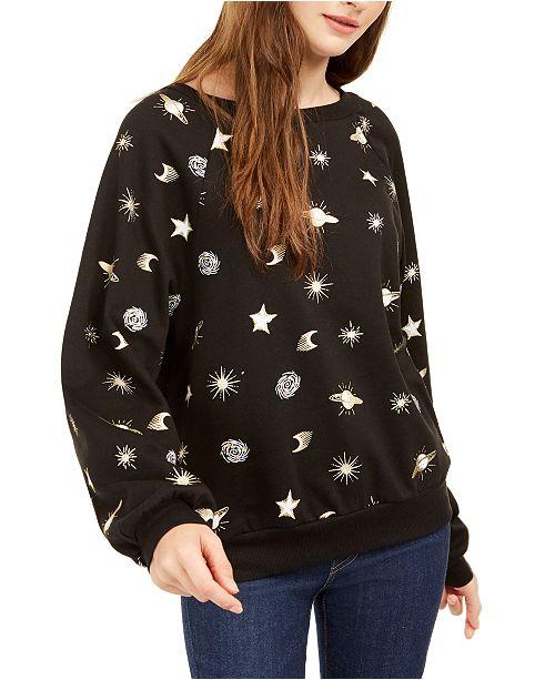 Rebellious One Juniors' Planets Metallic Graphic Sweatshirt