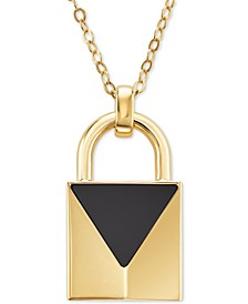 "Semi-Precious Gold-Tone Sterling Silver Padlock Pendant Necklace, 32"" + 2"" extender"
