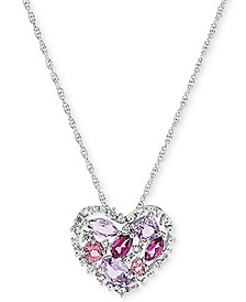 "Multi-Gemstone Open Heart 18"" Pendant Necklace (2 ct.t.w.) in Sterling Silver"