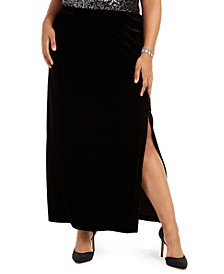 Plus Size Velvet Long Skirt