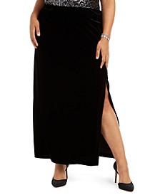 Plus Size Velvet Long Skirt