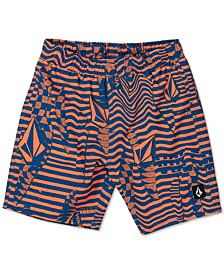 Big Boys Logo Shifter Volley Printed Swim Trunks