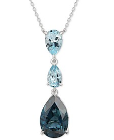"Deep Sea Blue Topaz (6-1/2 ct. t.w.) & Sky Blue Topaz (2-1/2 ct. t.w.) Adjustable 18"" Lariat Necklace in 14k White Gold"