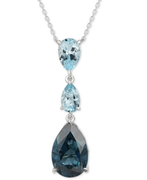 """Deep Sea Blue Topaz (6-1/2 ct. t.w.) & Sky Blue Topaz (2-1/2 ct. t.w.) Adjustable 18"""" Lariat Necklace in 14k White Gold"""