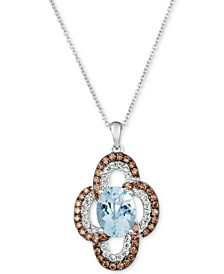 "Sea Blue Aquamarine® (1-3/8 ct. t.w.), Nude Diamonds (1/4 ct. t.w.) & Chocolate Diamonds® (1/3 ct. t.w.) 20"" Pendant Necklace 14k White Gold"