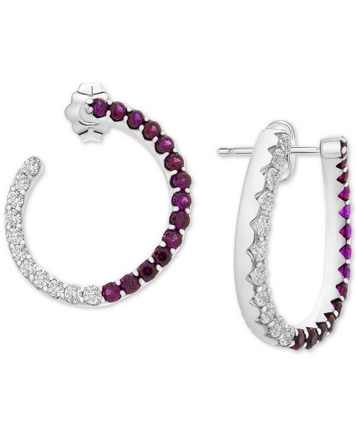 Macy's - Lab-Created Ruby (1-3/8 ct. t.w.) & White Sapphire (1-1/10 ct. t.w.) Front & Back Hoop Earrings in Sterling Silver