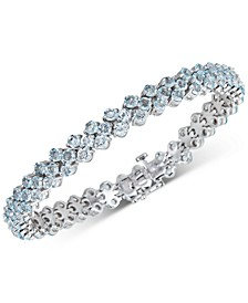 Blue Topaz Cluster Tennis Bracelet (15 ct. t.w.) in Sterling Silver (Also Available in Multi Gemstone)