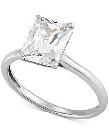 Swarovski Cubic Zirconia Emerald-Cut Ring in 14k White Gold