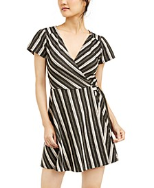 Juniors' Glitter-Stripe Faux-Wrap Dress