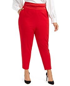 Plus Size Pleated Slim-Leg Pants
