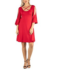 Women's Knee Length Cold Shoulder Dress