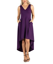 24seven Comfort Apparel Women's Sleeveless Fit and Flare High Low Dress