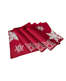 """Glisten Snowflake Embroidered Christmas Placemats, 14"""" x 20"""", Set of 4"""