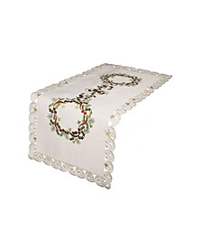 """Ribbon Wreath Embroidered Cutwork Christmas Table Runner, 15"""" x 34"""""""