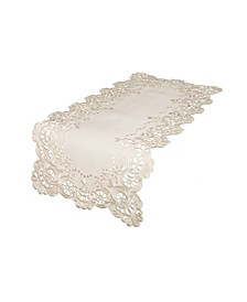 """Scalloped Lace Embroidered Cutwork Table Runner, 15"""" x 34"""""""