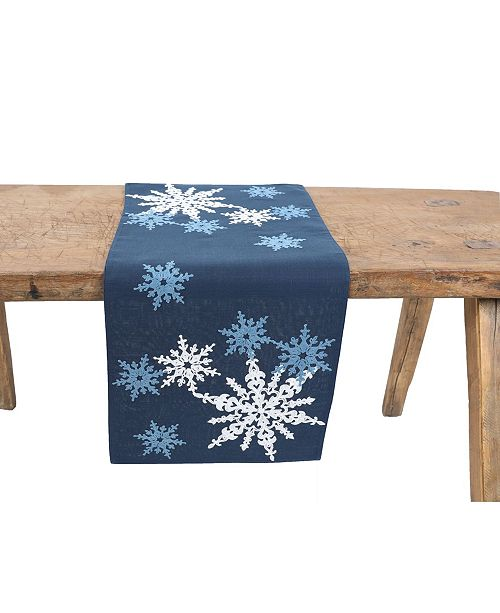 Manor Luxe Magical Snowflakes Crewel Embroidered Christmas Table Runner