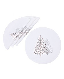 "Festive Trees Embroidered Christmas Placemats 16"" Round, Set of 4"