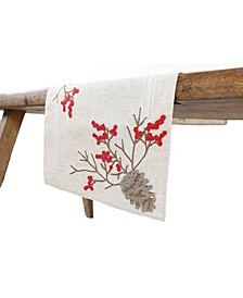 Christmas Pine Cone Crewel Embroidered Table Runner