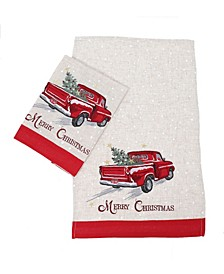Merry Christmas Truck Decorative Towels, Set of 2