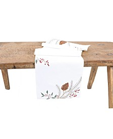 Pinecone and Berry Embroidered Christmas Table Runner