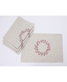 Holly Berry Wreath Embroidered Christmas Placemats, Set of 4
