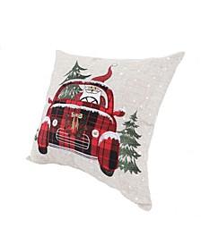 "Santa Claus Riding on Car Christmas Pillow 14"" x 14"""