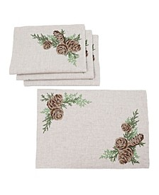 """Winter Pine Cones and Branches Crewel Embroidered Placemats 14"""" x 20"""", Set of 4"""