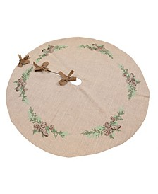"Winter Pine Cones and Branches Crewel Embroidered Tree Skirt 56"" Round"