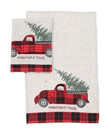 "Vintage Tartan Truck with Christmas Tree Decorative Towels 14"" x 22"", Set of 2"