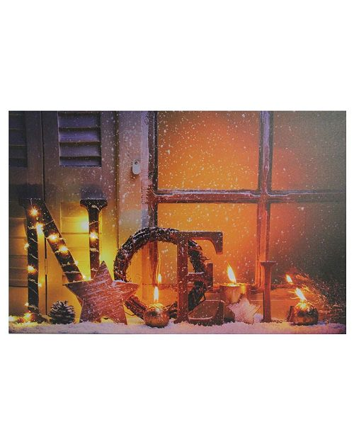 """Northlight LED Lighted Noel and Flickering Candles Christmas Canvas Wall Art, 15.75"""" x 23.5"""""""