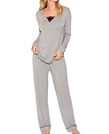 Contrast Lace and Modal Comfy Sleep and Lounge Set