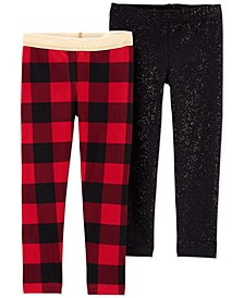 Toddler Girls 2-Pk. Buffalo Check & Sparkle Fleece Leggings
