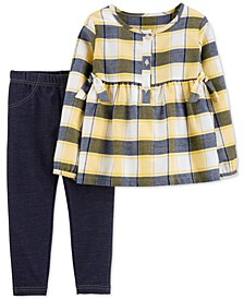 Toddler Girls 2-Pc. Plaid Top & Denim Leggings Set