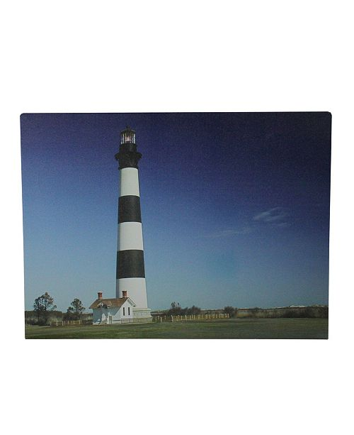 """Northlight LED Lighted and Striped Lighthouse with Ombre Sky Canvas Wall Art, 11.75"""" x 15.75"""""""