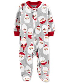 Baby Boys Santa-Print Fleece Footed Coverall