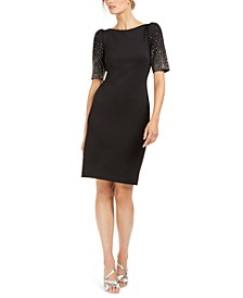 Embellished-Sleeve Sheath Dress