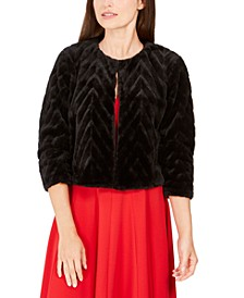 Chevron Faux-Fur Jacket