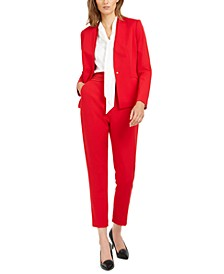Single-Button Blazer, Bow-Neck Blouse & Pleated-Waist Pants
