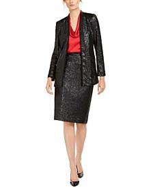 Sequined Jacket, Cowlneck Top & Sequined Pencil Skirt