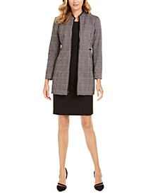 Plaid Faux-Leather-Trim Topper Jacket