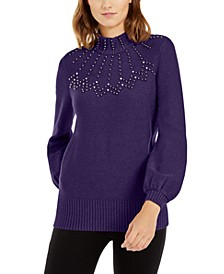 Petite Mock-Neck Embellished Sweater, Created For Macy's