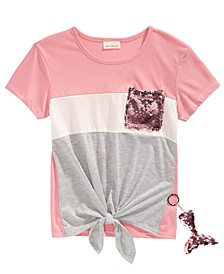 Big Girls Flip Sequin Pocket T-Shirt & Mermaid Key-chain
