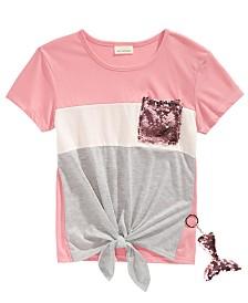 Belle Du Jour Little Girls Flip Sequin Pocket T-Shirt & Mermaid Key-chain