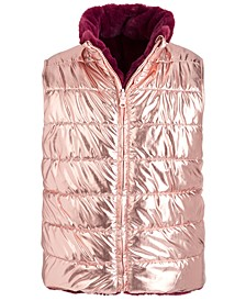 Big Girls Reversible Metallic & Faux-Fur Puffer Vest