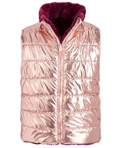 Epic Threads Big Girls Reversible Metallic & Faux-Fur Puffer Vest