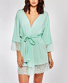 iCollection Elegant Modal Knit Robe with Contrast Scalloped Lace